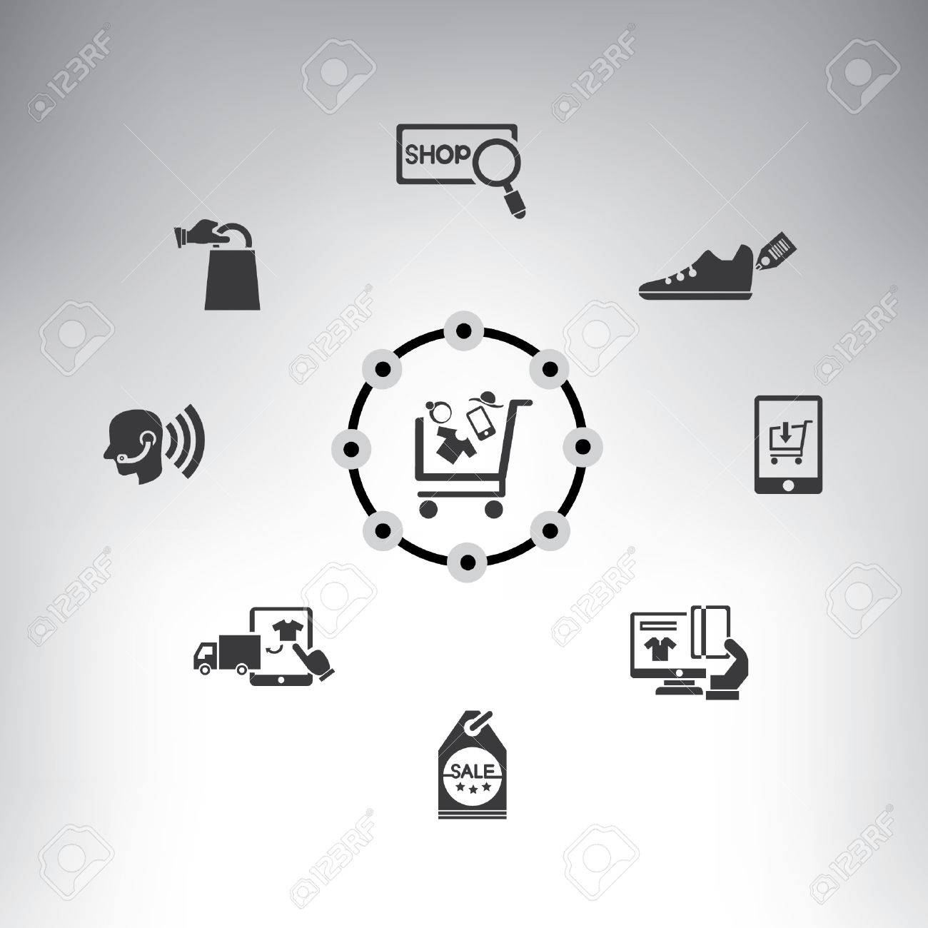 Shopping And Marketing System Info Graphic, E-commerce, Online ...