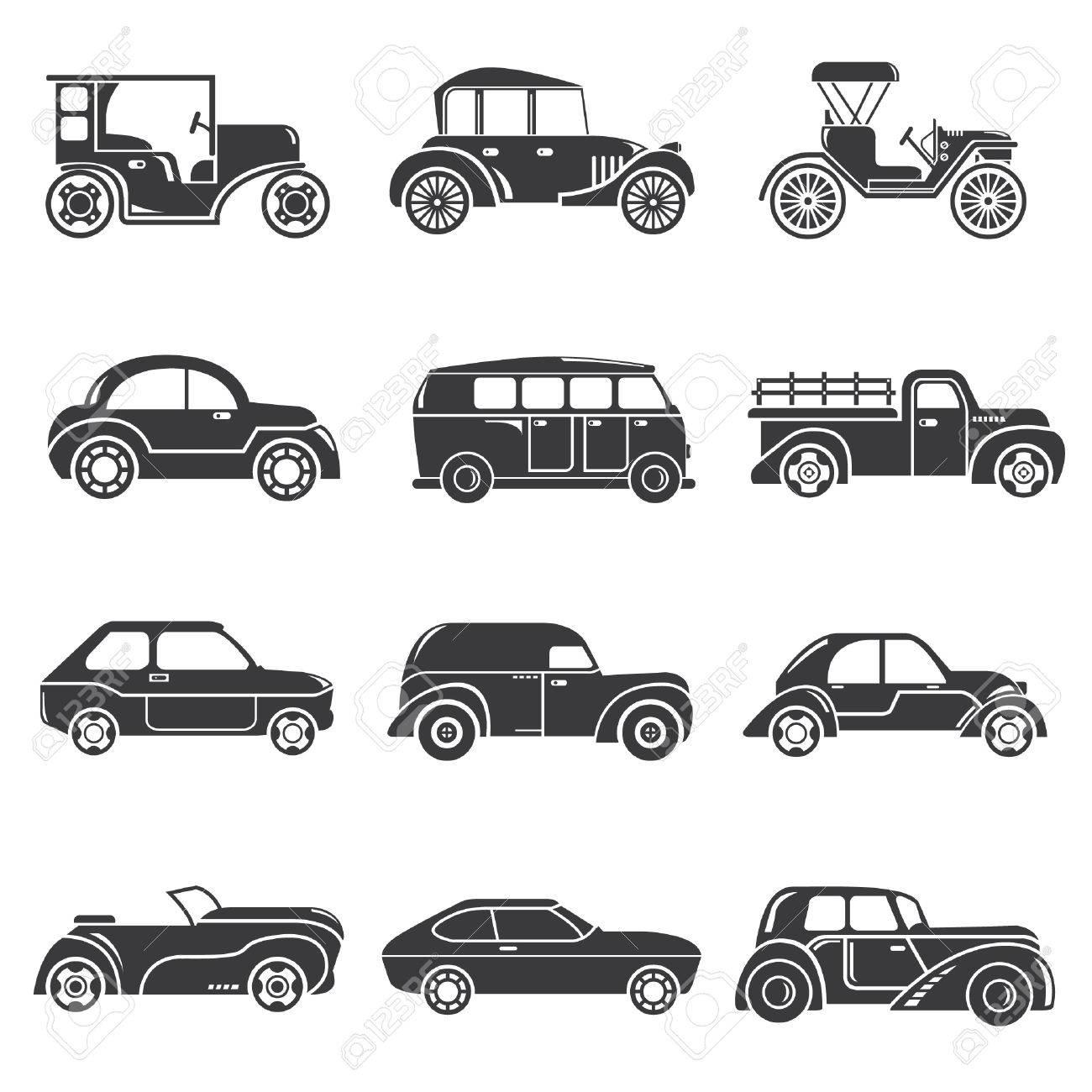 古典的な車クラシックカー アイコンのイラスト素材ベクタ Image