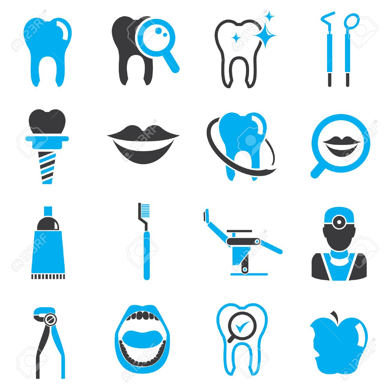 Dental Icons, Black And Blue Theme Royalty Free Cliparts, Vectors ...