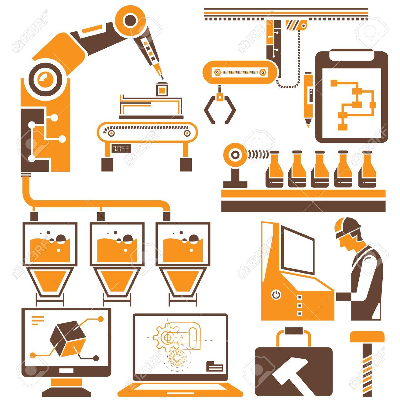 manufacturing, production line icons, orange theme - 27649721