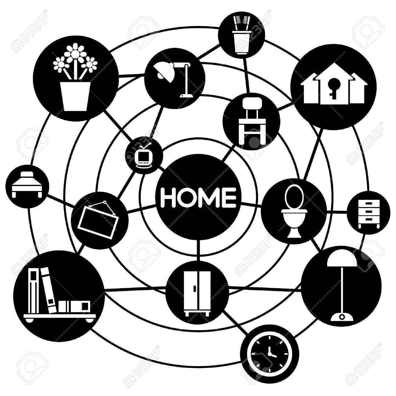 home and interior design connecting network diagram royalty free Network Diagram Examples home and interior design connecting network diagram stock vector 28789362