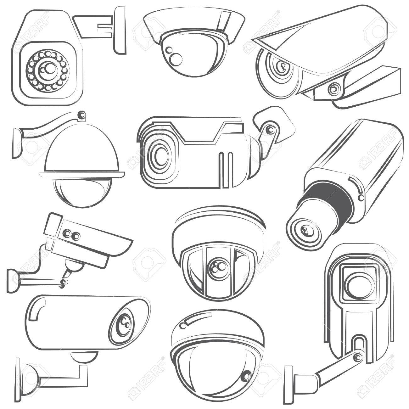 sketch CCTV, video surveillance set - 29185927