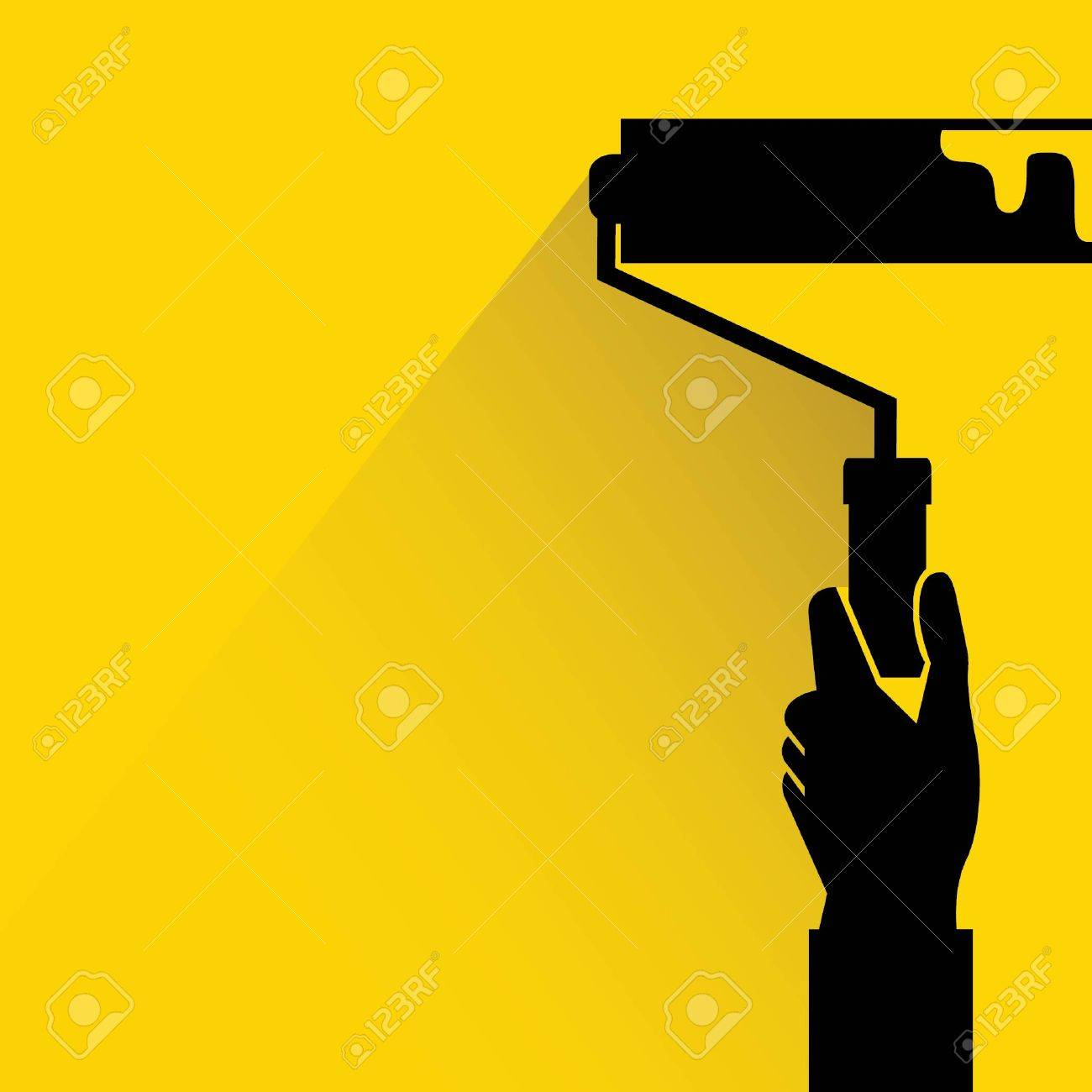 Hand Holding Roller Brush, Painting Wall Royalty Free Cliparts ...