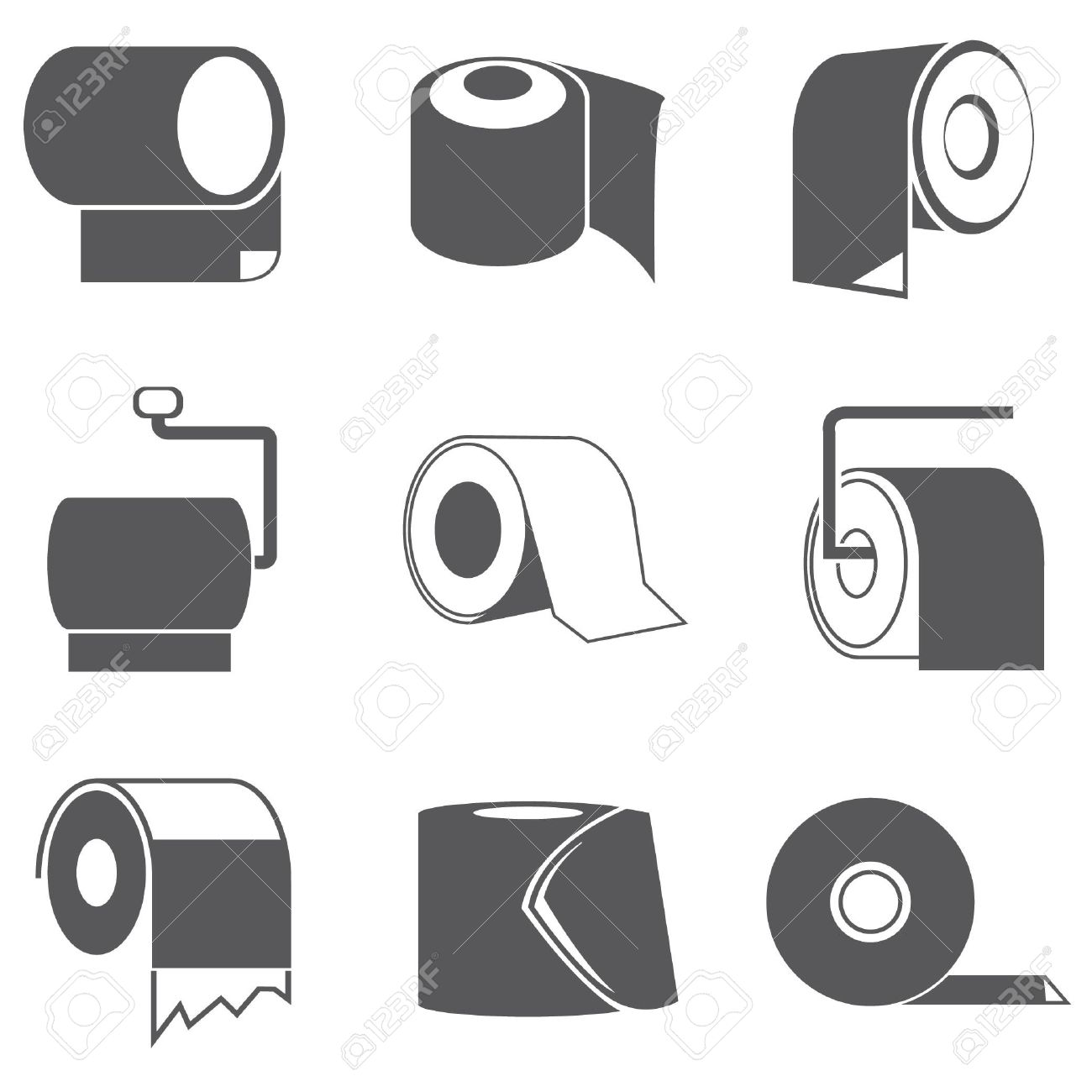 Vector   toilet paper roll icons. Toilet Paper Roll Icons Royalty Free Cliparts  Vectors  And Stock