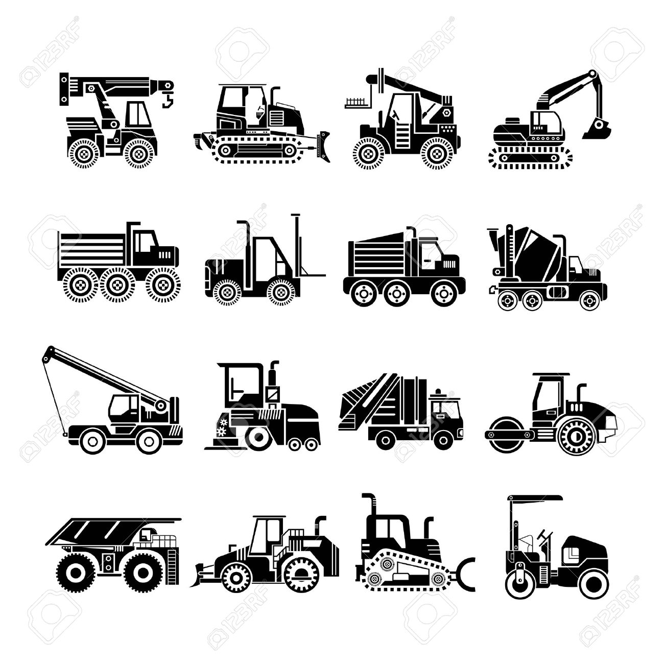Heavy Construction Machinery Icons Truck Icons Royalty Free