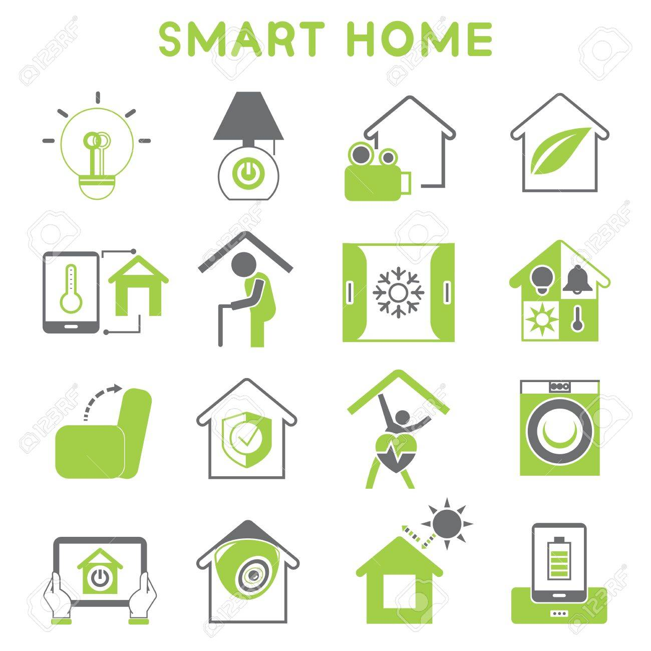 Smart Home Icons Green Color Design Royalty Free Cliparts Vectors