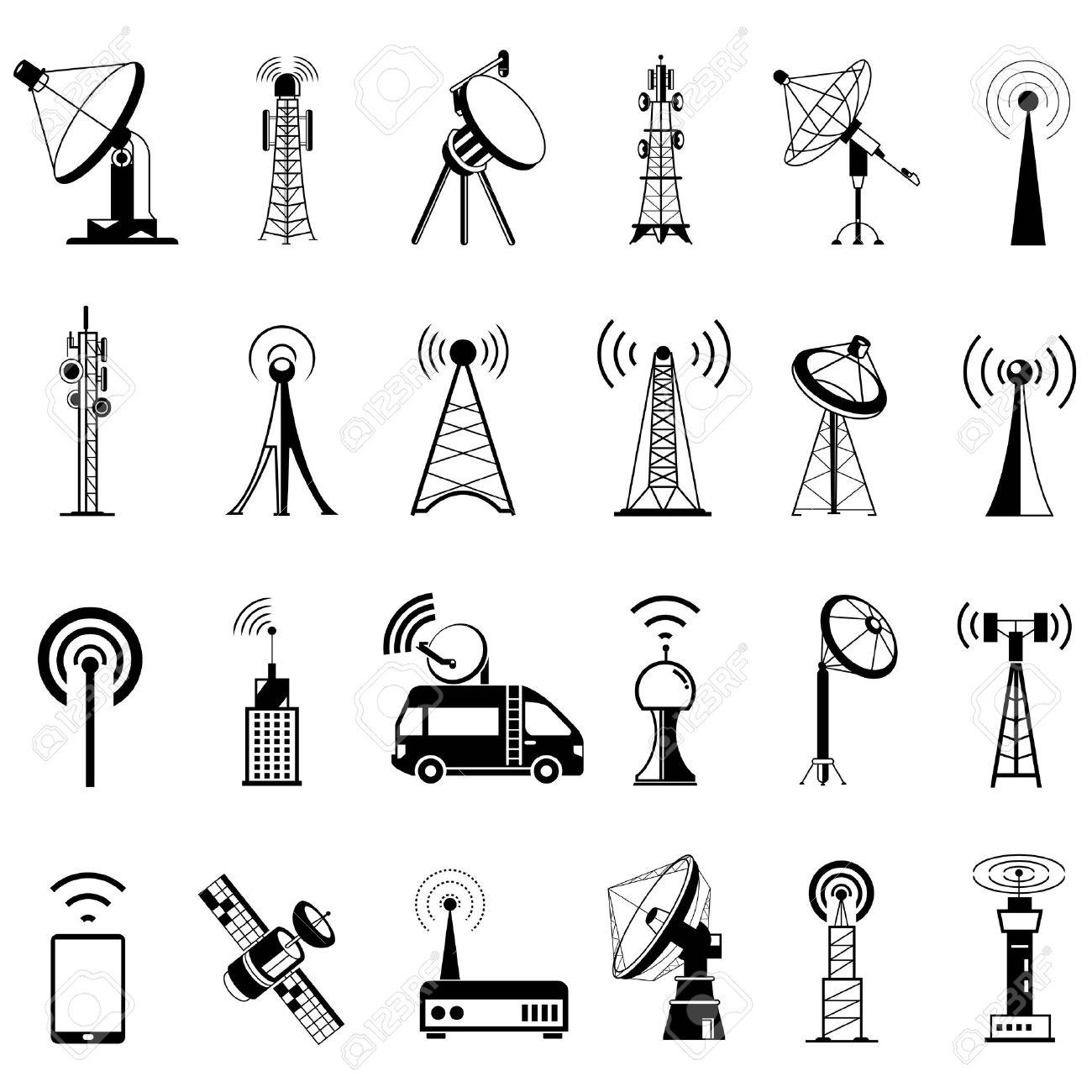 communication tower icons, satellite dishes, antenna - 43295018