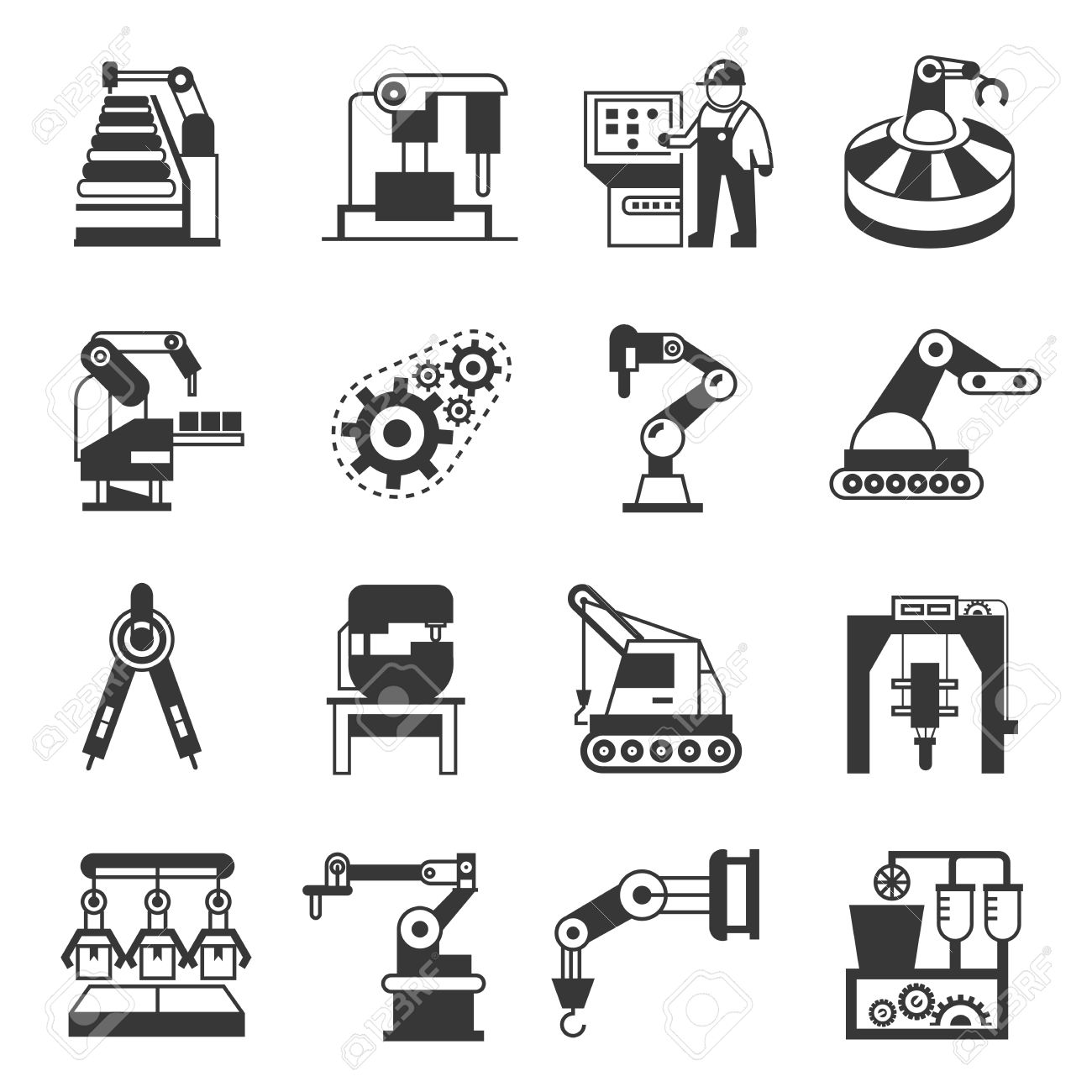 Manufacturing Icons Robotics Icons Royalty Free Cliparts Vectors