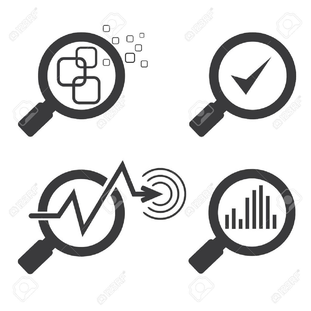 magnifier glass and chart graph icons - 53359753