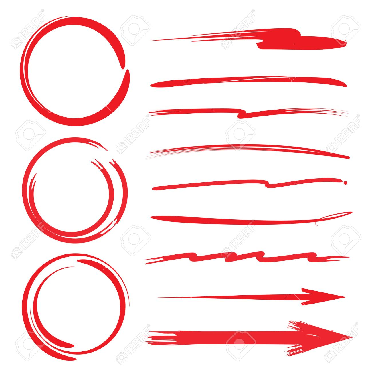 Circle Highlighter Underline Brush Lines Marker Set Royalty with regard to free clipart underline images for your inspiration
