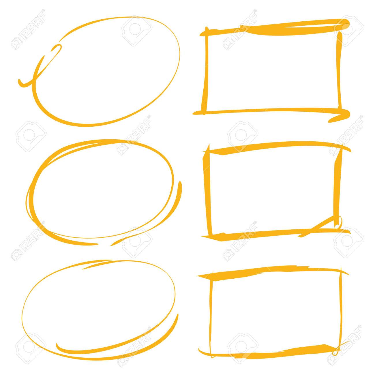 Yellow Hand Drawn Rectangle Frames, Circles Royalty Free Cliparts ...