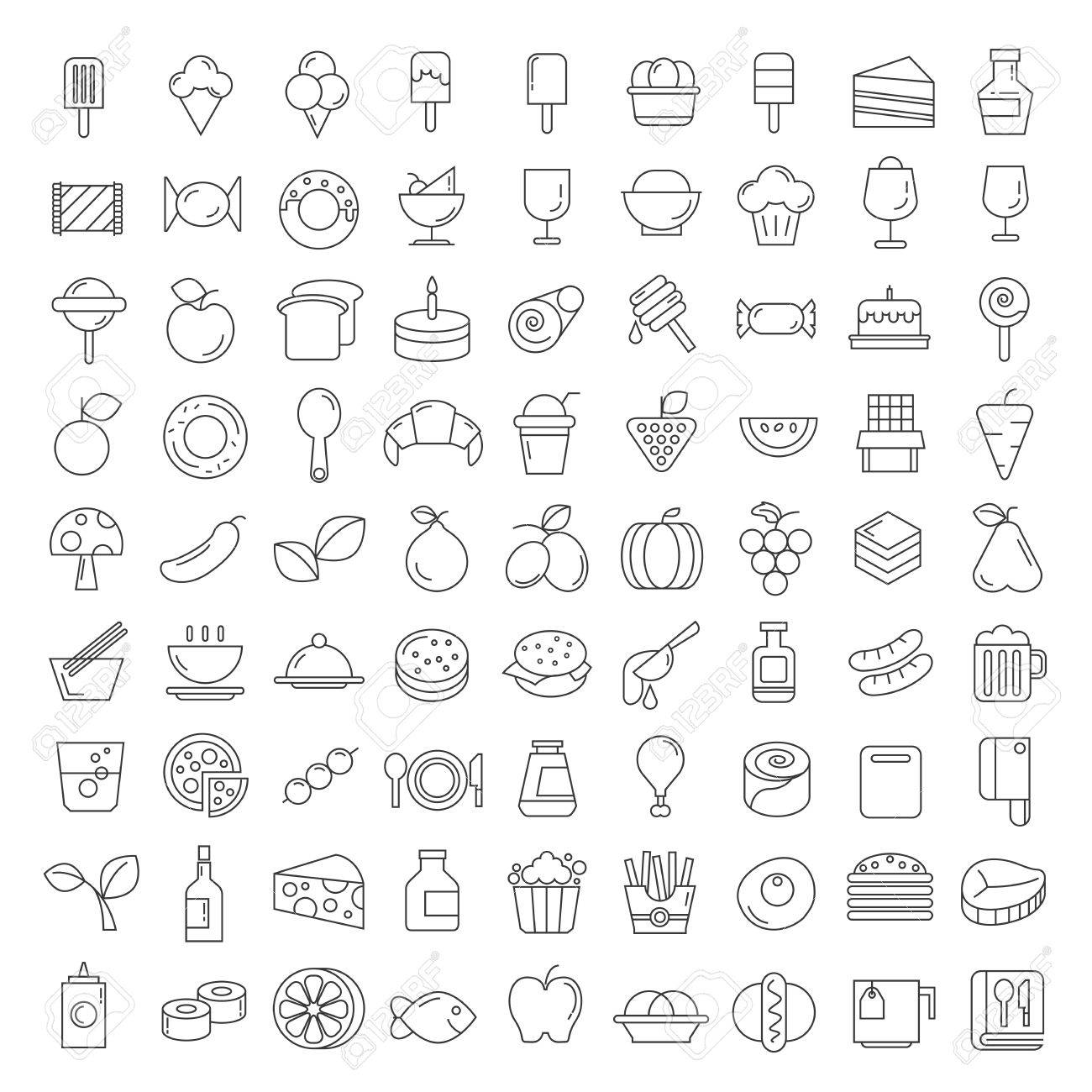 food and sweets icons - 68991454