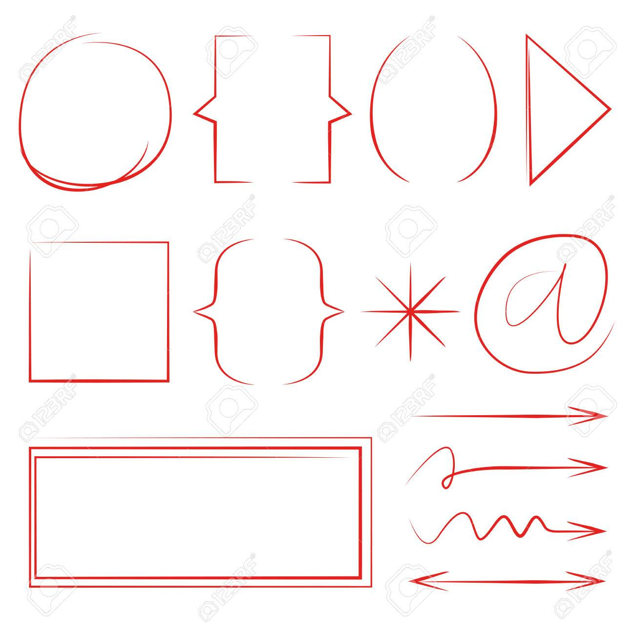 Red Hand Drawn Bracket And Rectangle Frames Royalty Free Cliparts ...