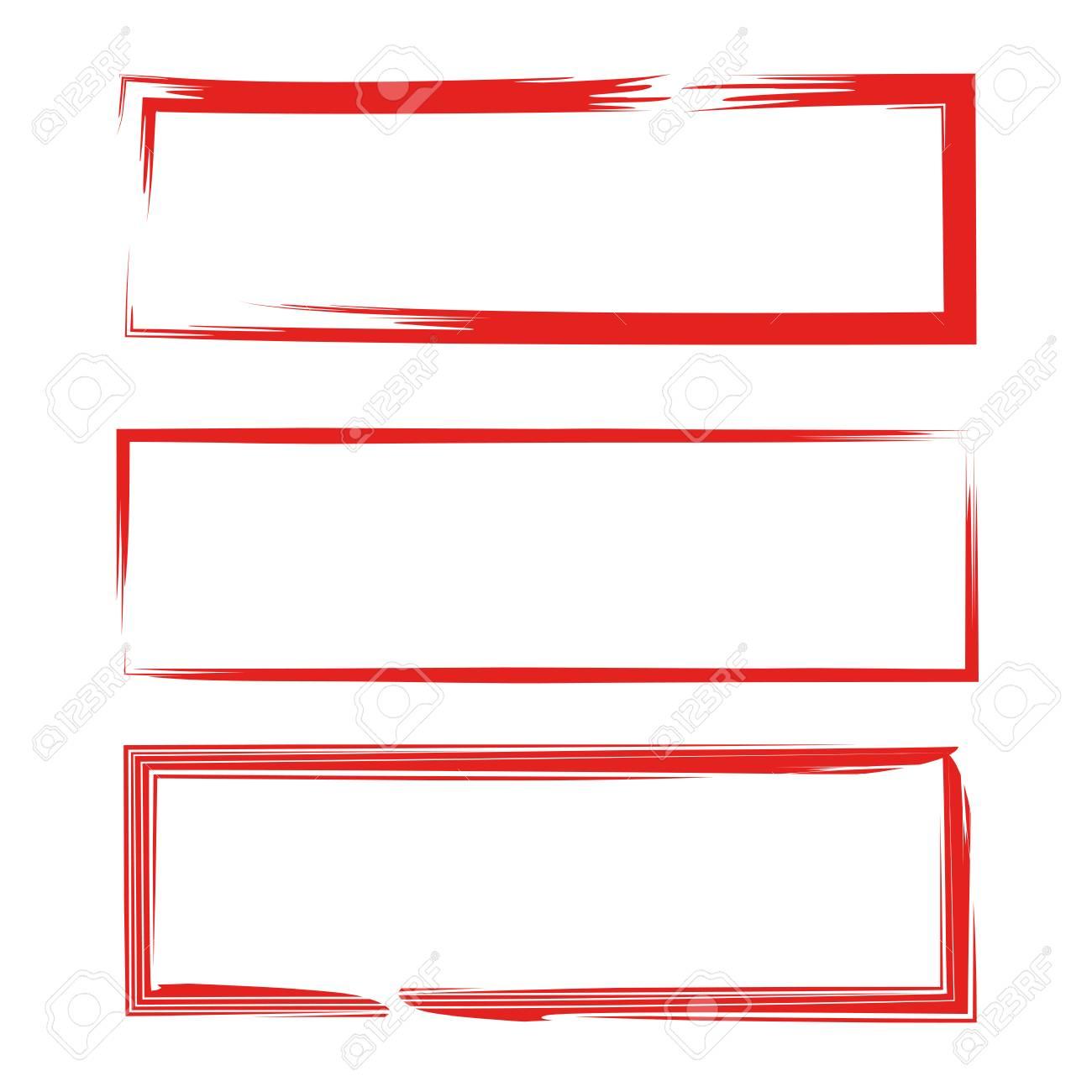 El Rectángulo Rojo Del Grunge Enmarca La Ilustración Del Vector ...