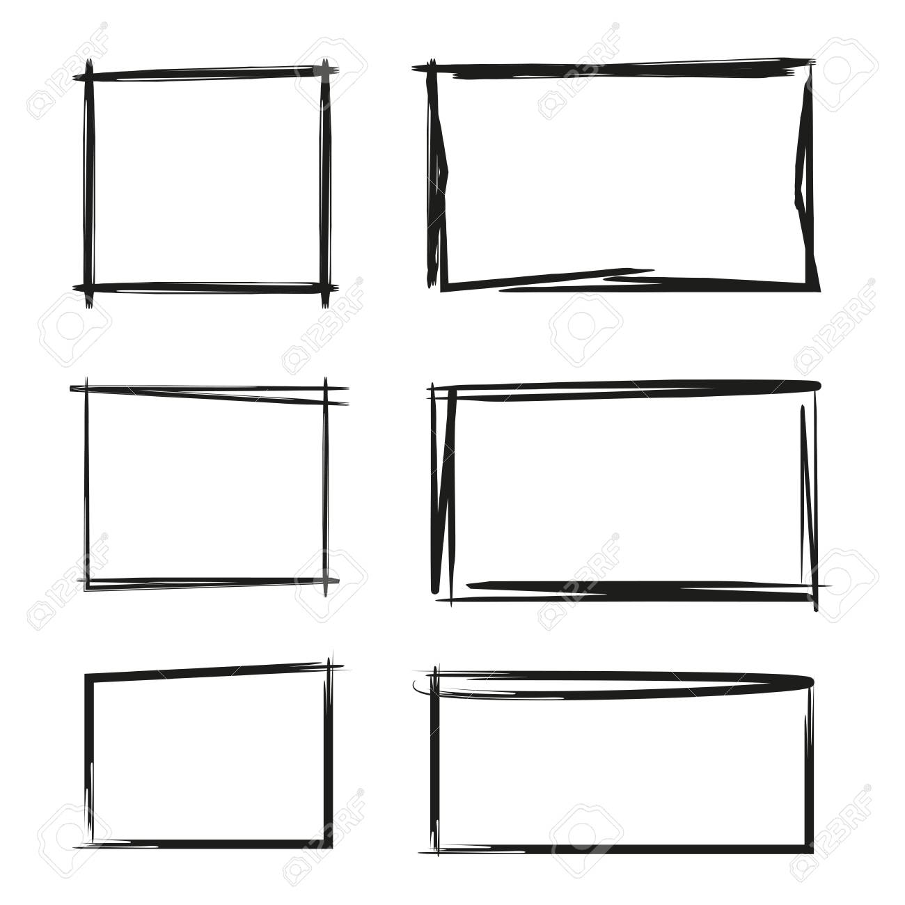 hand drawn rectangle text box and frames royalty free cliparts