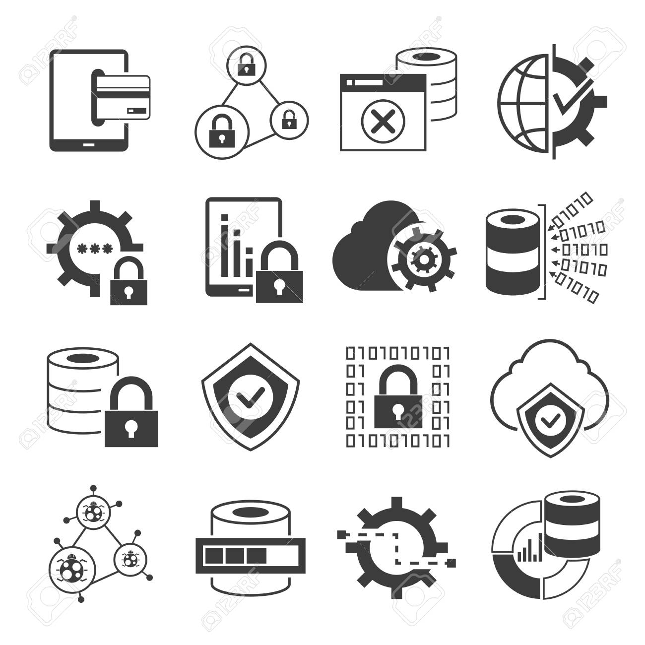 API, data security and network icons