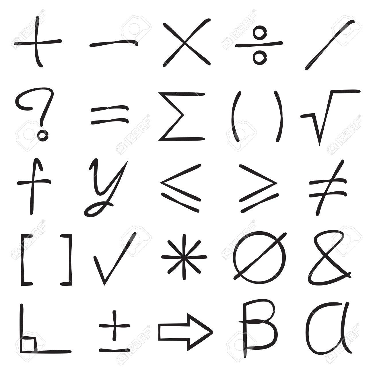 hand drawn math signs on white background. royalty free cliparts