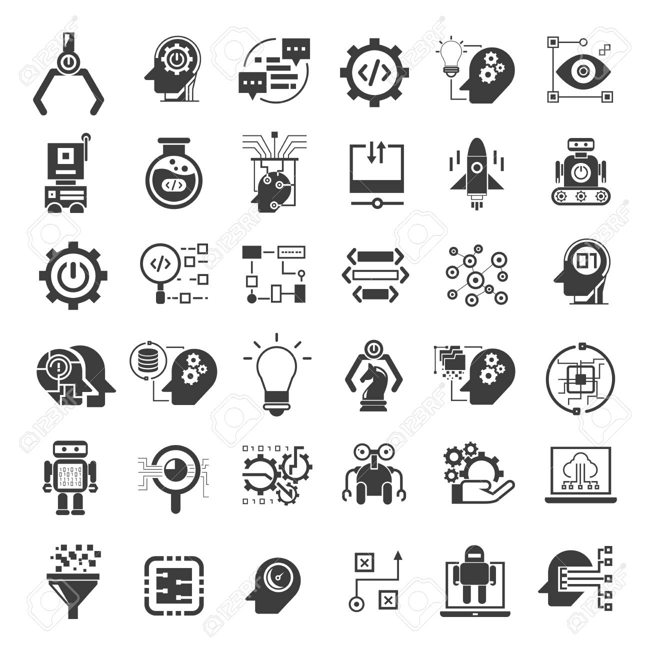 robotics and artificial intelligence icons - 89962948