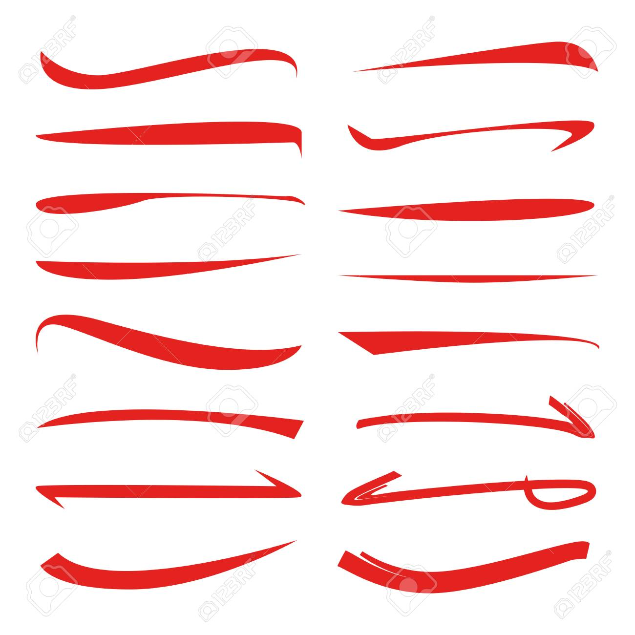 red underline set brush lines royalty free cliparts vectors and