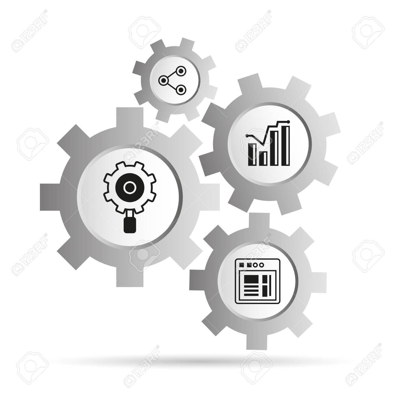data analytics concept icons in gears diagram illustration  stock vector -  97475410