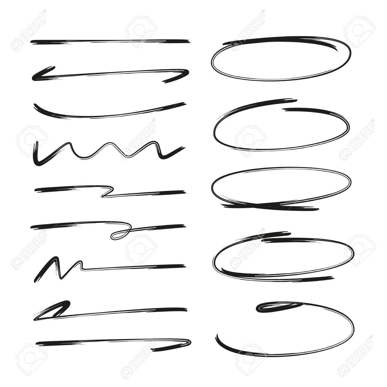 collection of hand drawn underlines and circle markers - 112312452
