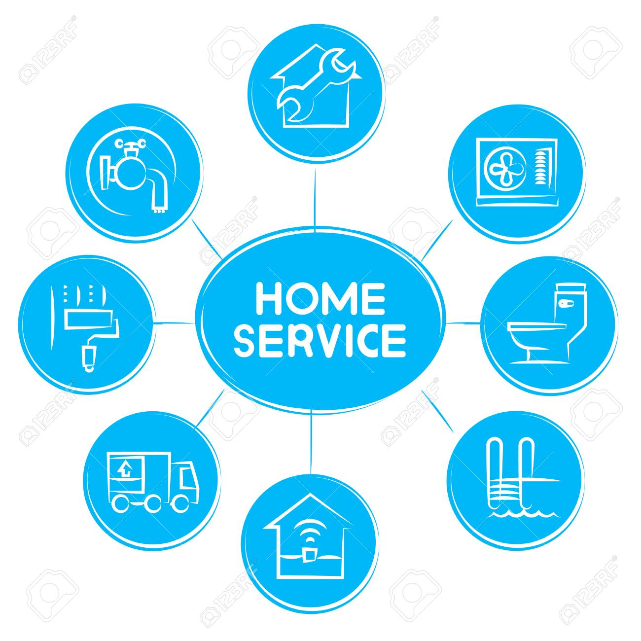 banque d'images - home service concept icons in blue diagram