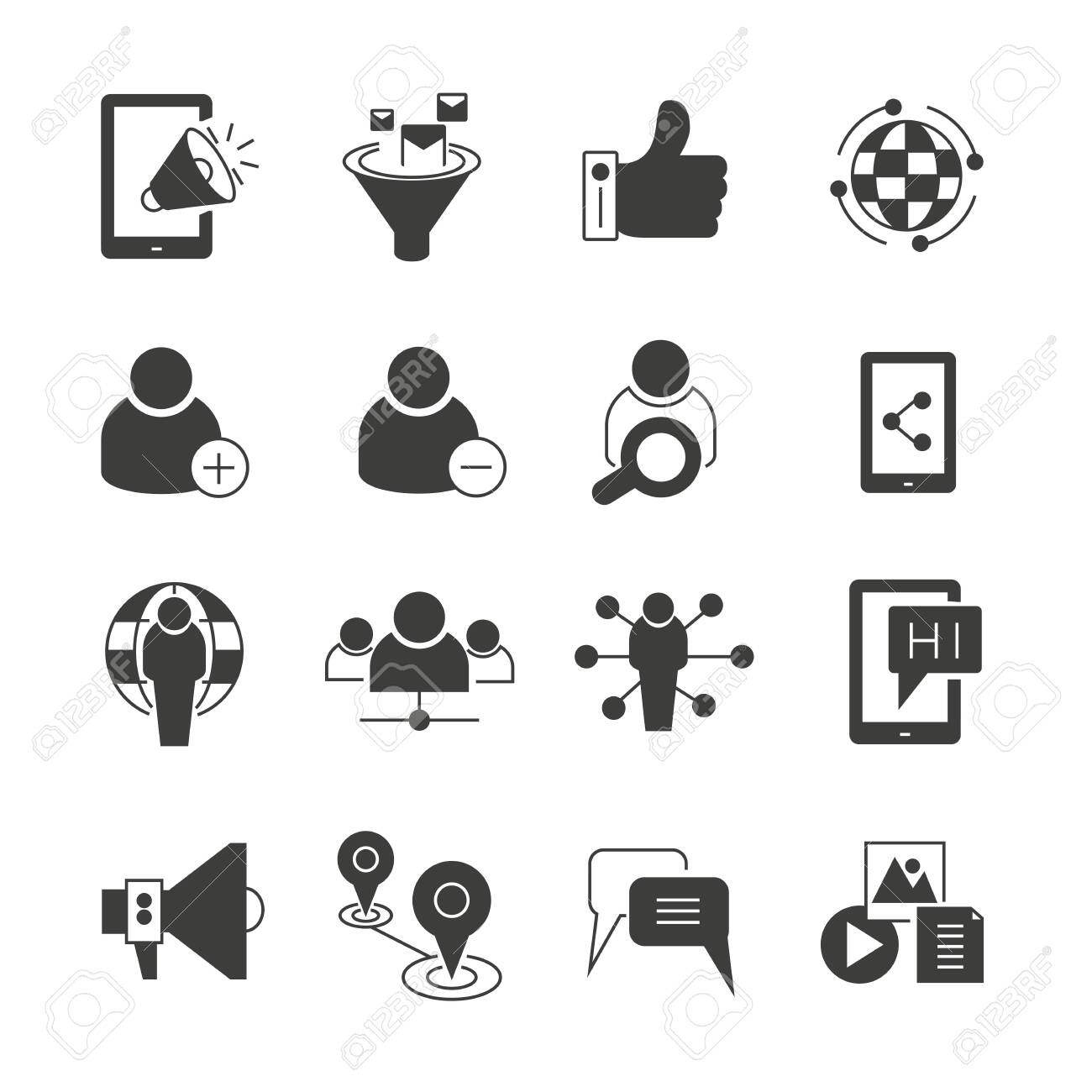 social media, seo and network icons set - 122058308