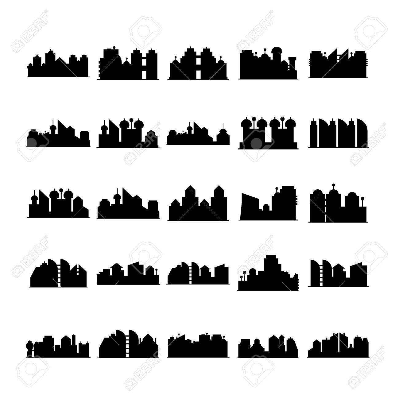 city skyline vector silhouette - 124596278