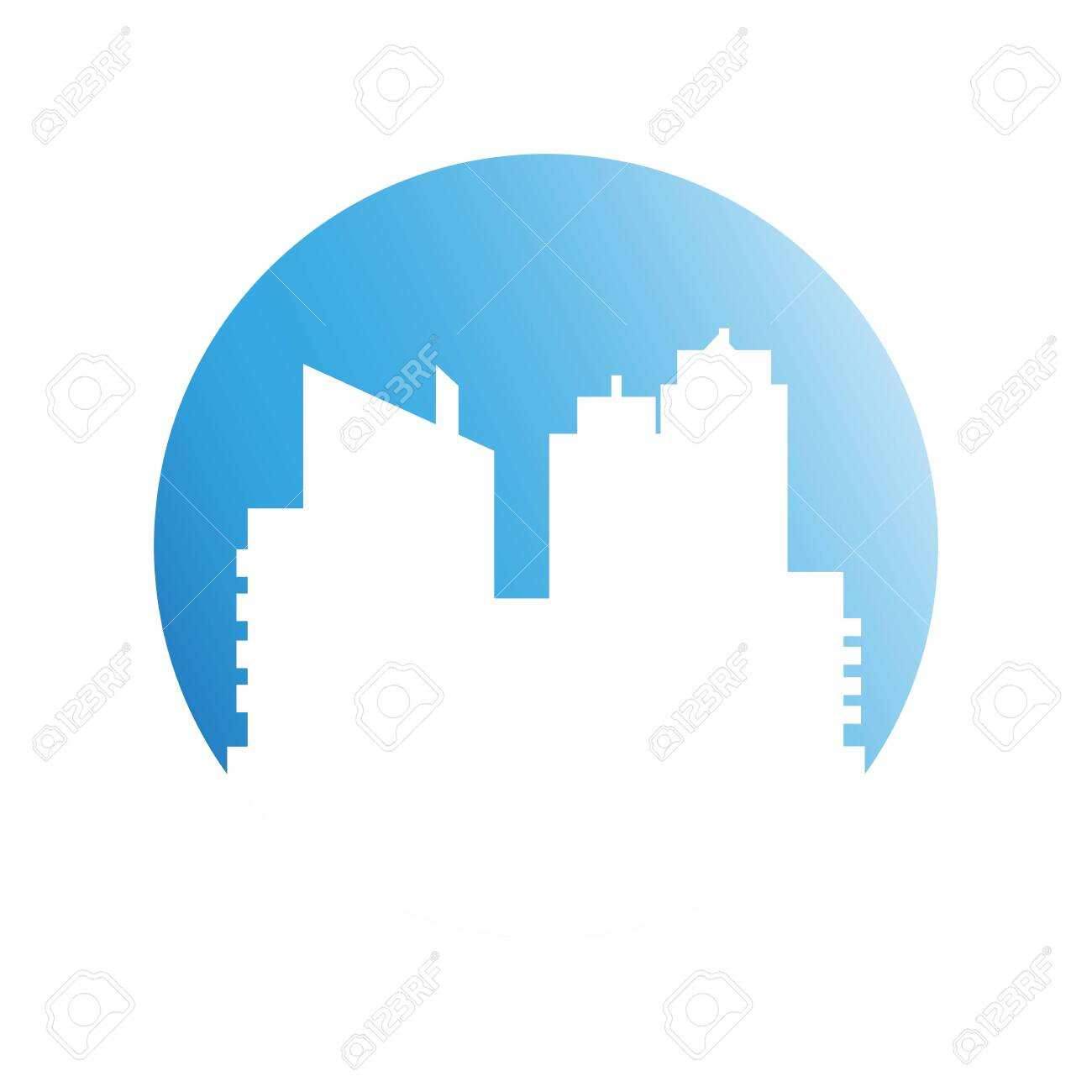 building, city skyline in blue circle - 127014246