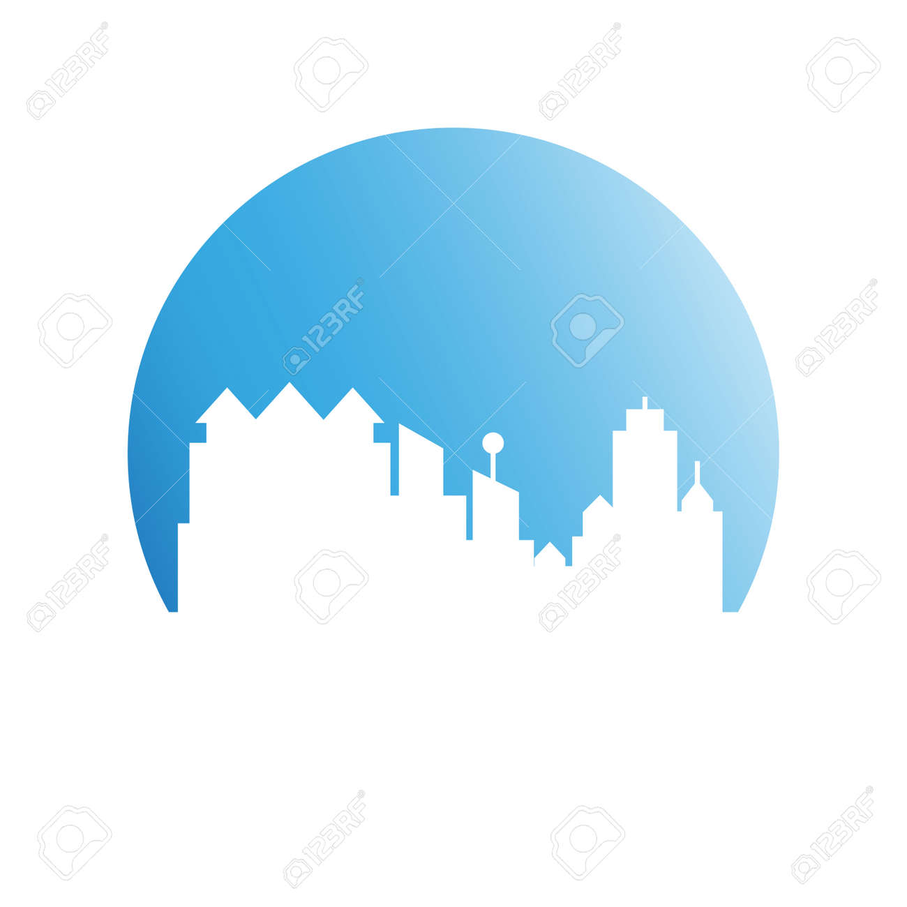 building, city skyline in blue circle - 127014272