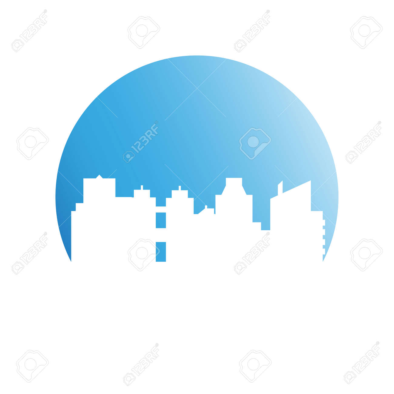 building, city skyline in blue circle - 127014341