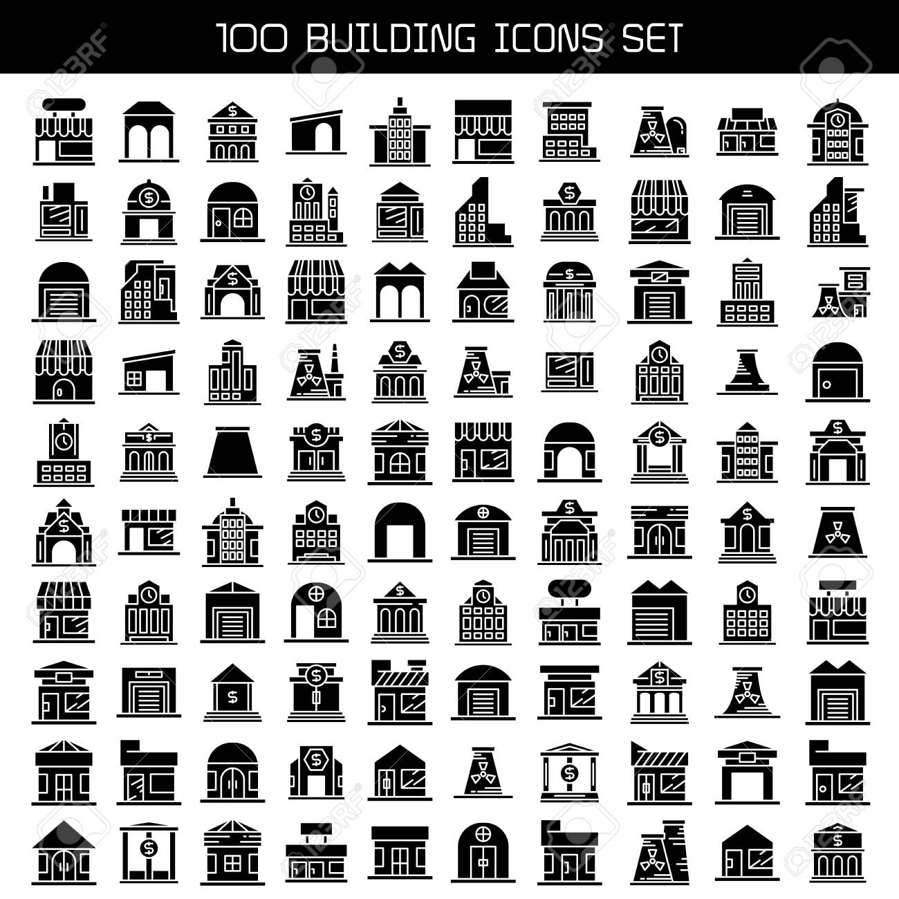 big set of building, tower city icons vector - 149627972