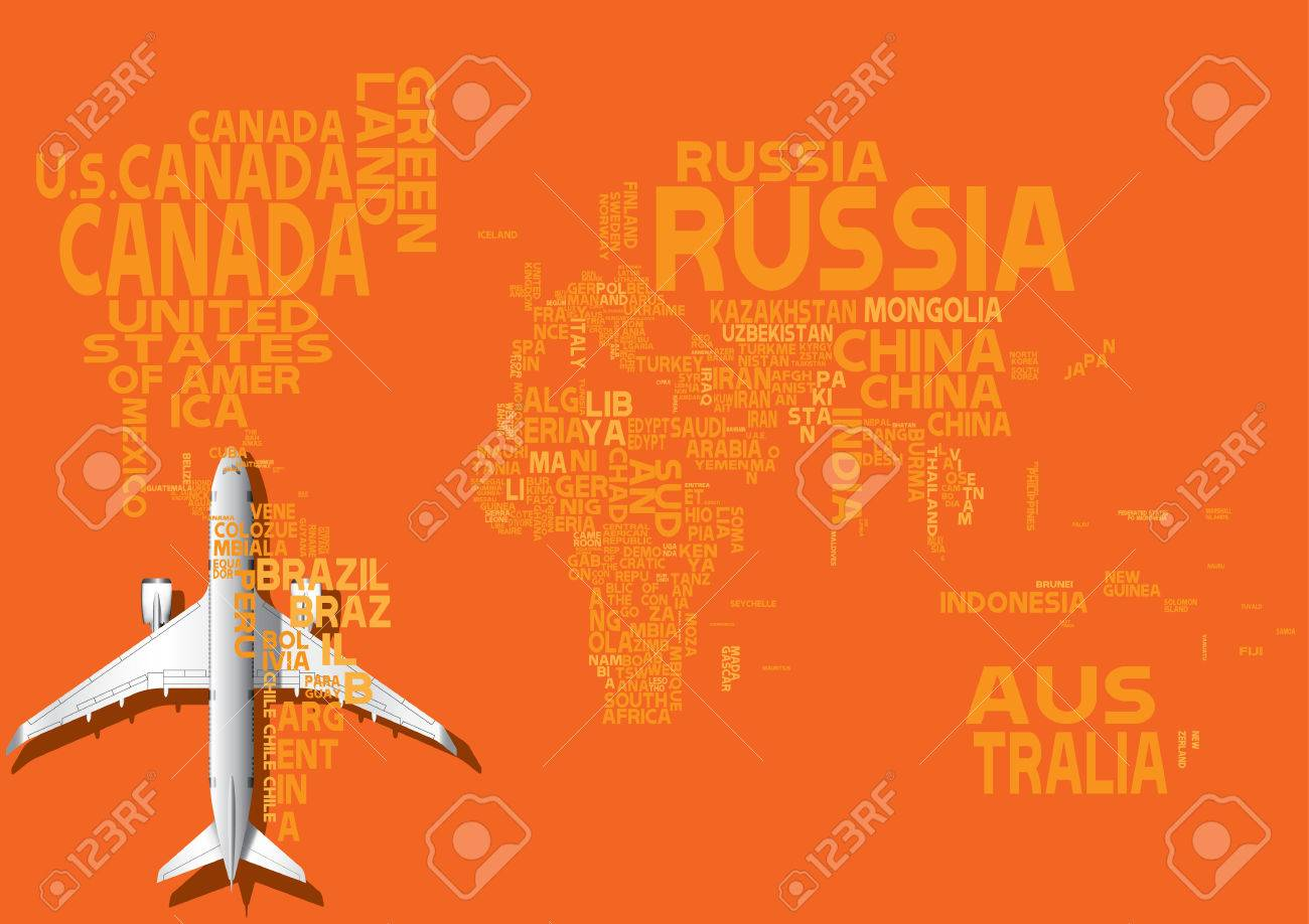 World map with orange letters of english alphabet travel concept vector world map with orange letters of english alphabet travel concept gumiabroncs Images