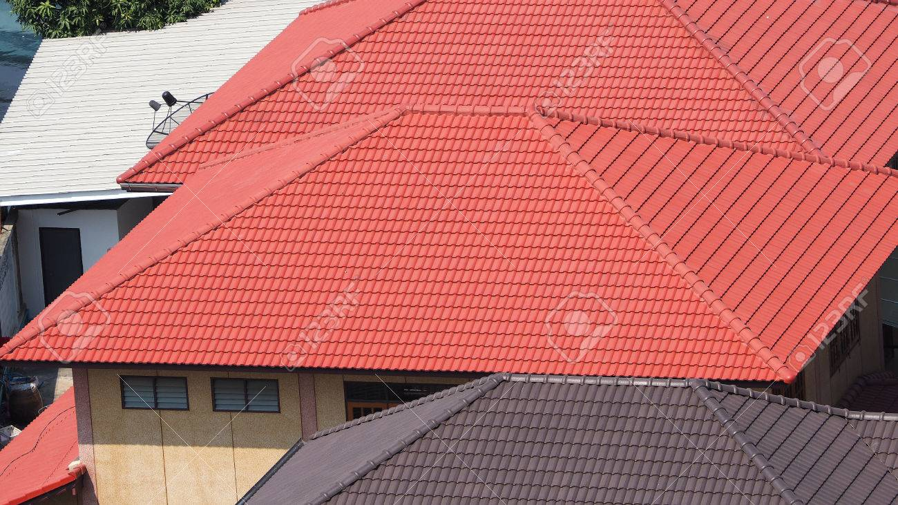 Roof tiles and made from ceramic and metal material and top view roof tiles and made from ceramic and metal material and top view angle stock photo dailygadgetfo Images