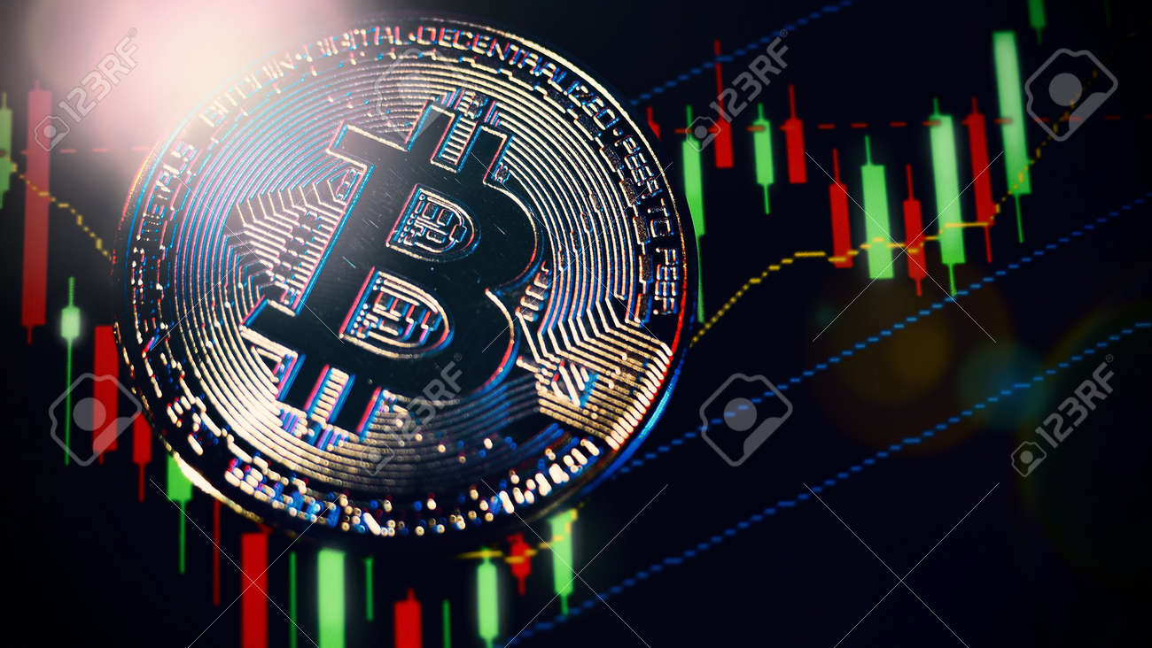 Cryptocurrency Bitcoin and Stock market graph bar. Cryptocurrency. Bitcoin Stock Growth. Investing in Crypto assets. Investment platform with charts and bitcoin coin. Stock Market digital money. - 169136780