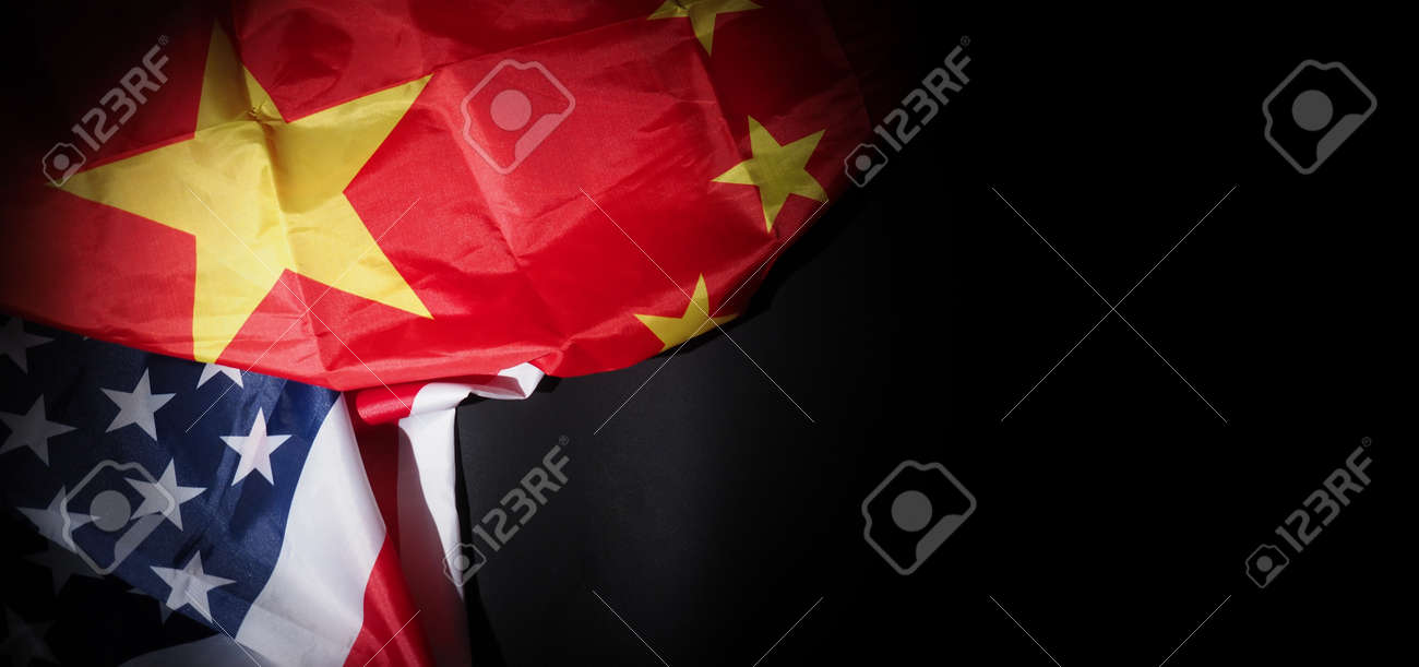 USA and China flag on black background. Represent serious trade tension or trade war between America and China. financial concept. Flags of China and the United States of America on Black. top view angle. - 170314452