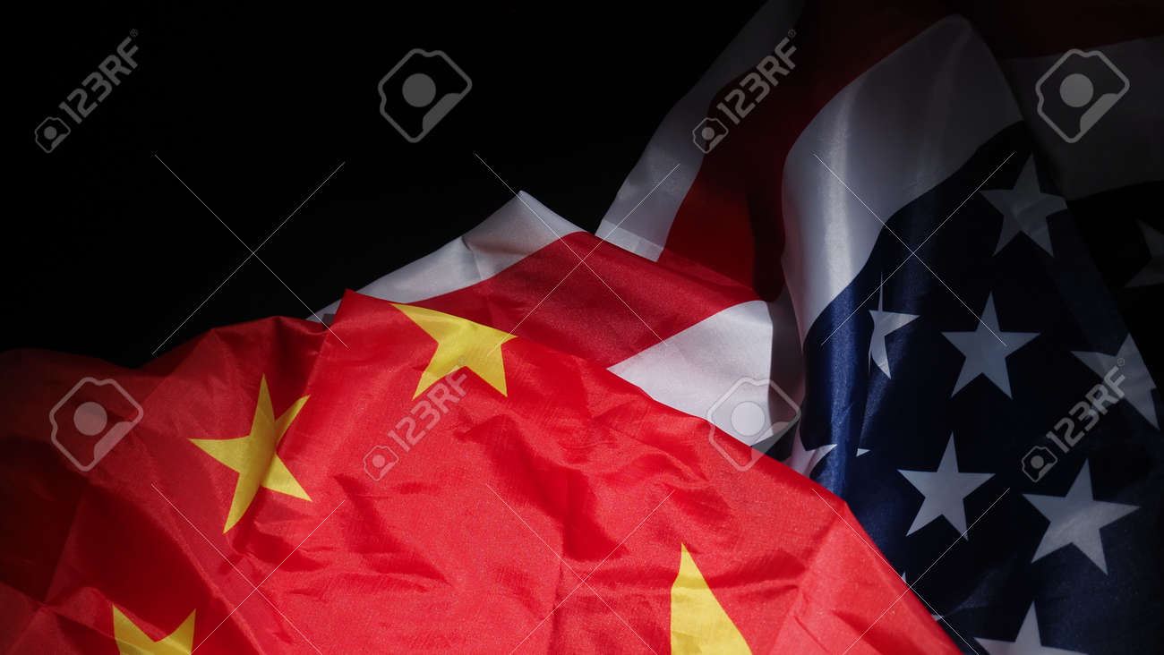 USA and China flag on black background. Represent serious trade tension or trade war between America and China. financial concept. Flags of China and the United States of America on Black. top view angle. - 170314454