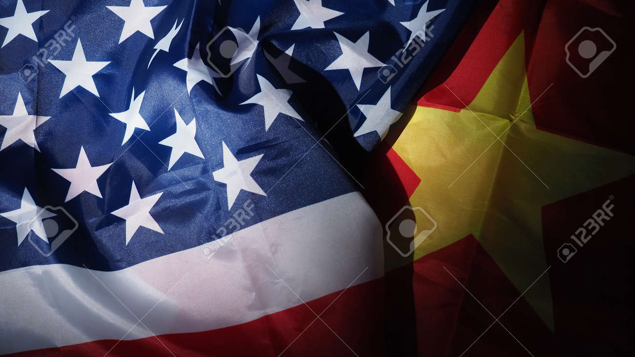 USA and China flag on black background. Represent serious trade tension or trade war between America and China. financial concept. Flags of China and the United States of America on Black. top view angle. - 170314456