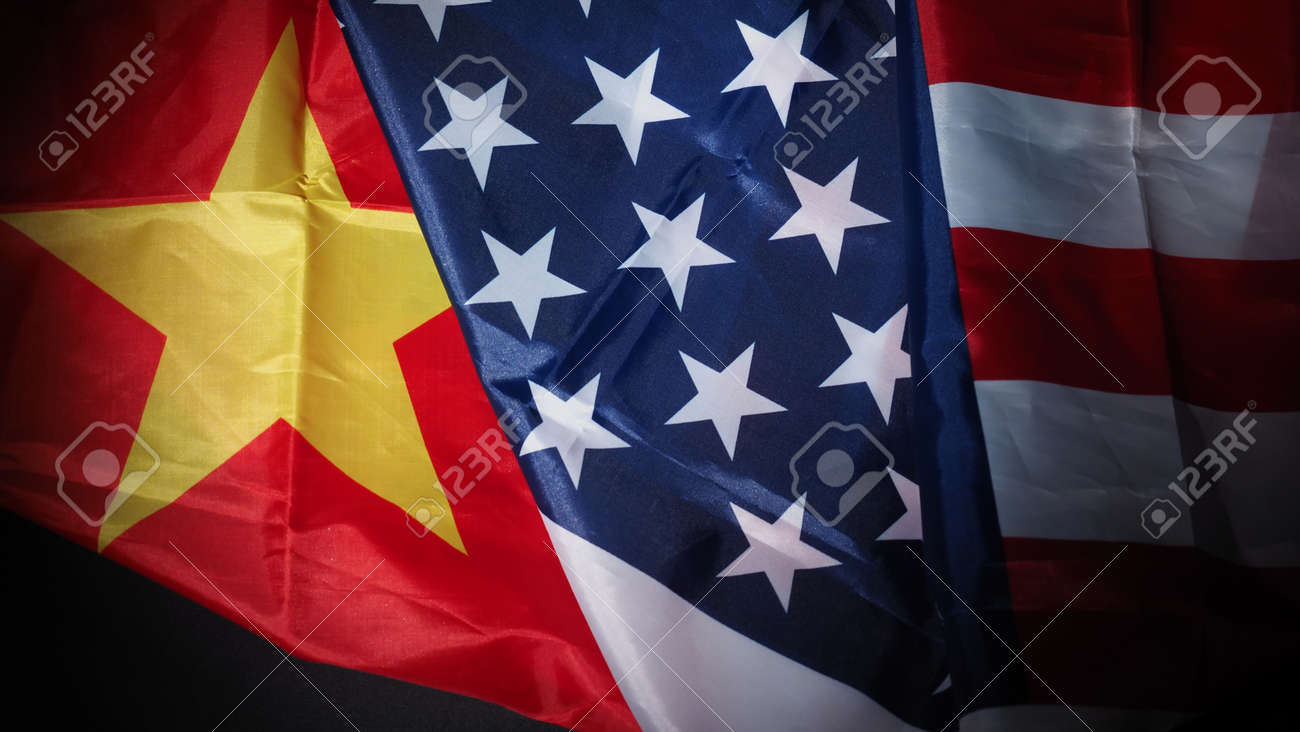 USA and China flag on black background. Represent serious trade tension or trade war between America and China. financial concept. Flags of China and the United States of America on Black. top view angle. - 170314457
