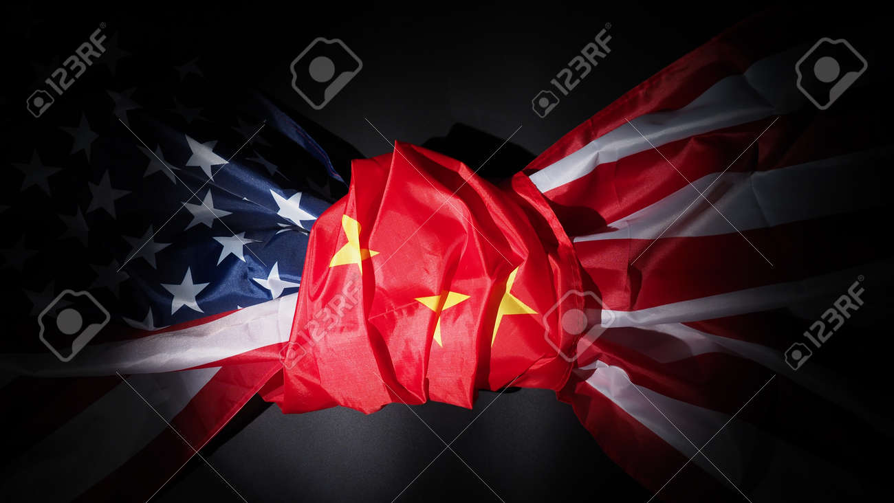 USA and China flag on black background. Represent serious trade tension or trade war between America and China. financial concept. Flags of China and the United States of America on Black. top view angle. - 170314459