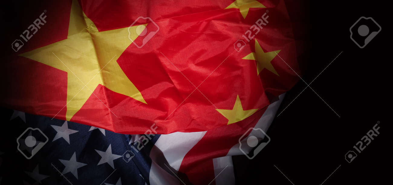 USA and China flag on black background. Represent serious trade tension or trade war between America and China. financial concept. Flags of China and the United States of America on Black. top view angle. - 170314462