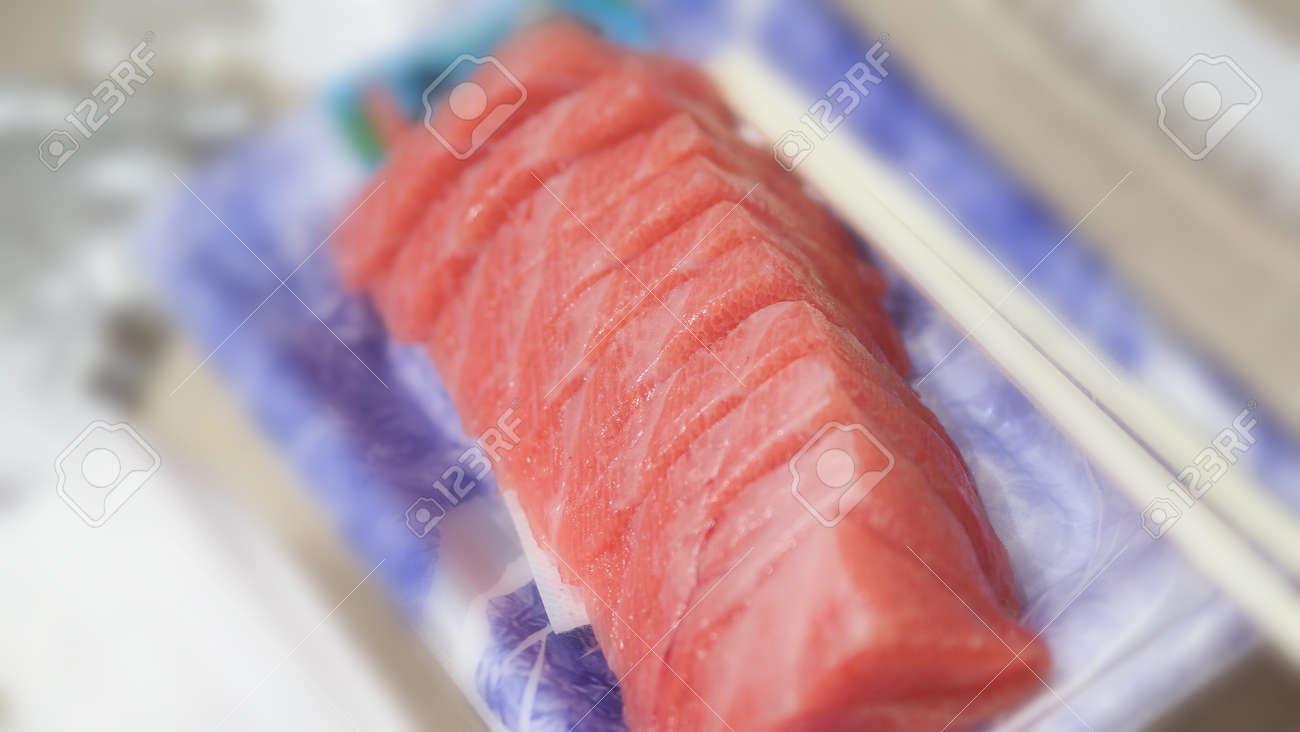 Tuna sashimi. Otoro sashimi ready to eat on plate from famous shop in supermarket Osaka Japan. Best part of Tuna is called Otoro which come from tuna fatty belly. Very popular menu for sushi lovers. - 170835215