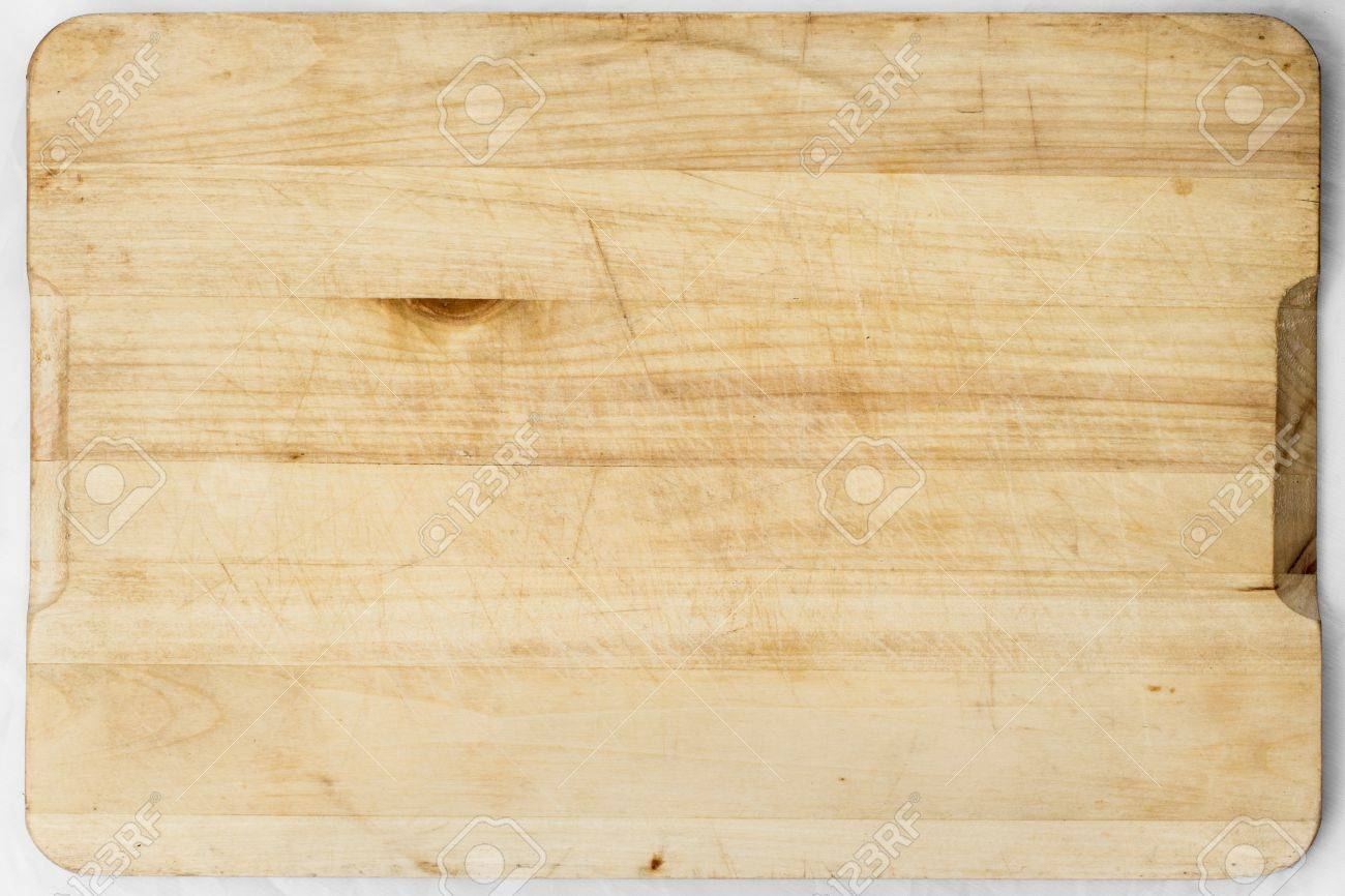 Old and used natural wooden cooking board with cuts - 21071690