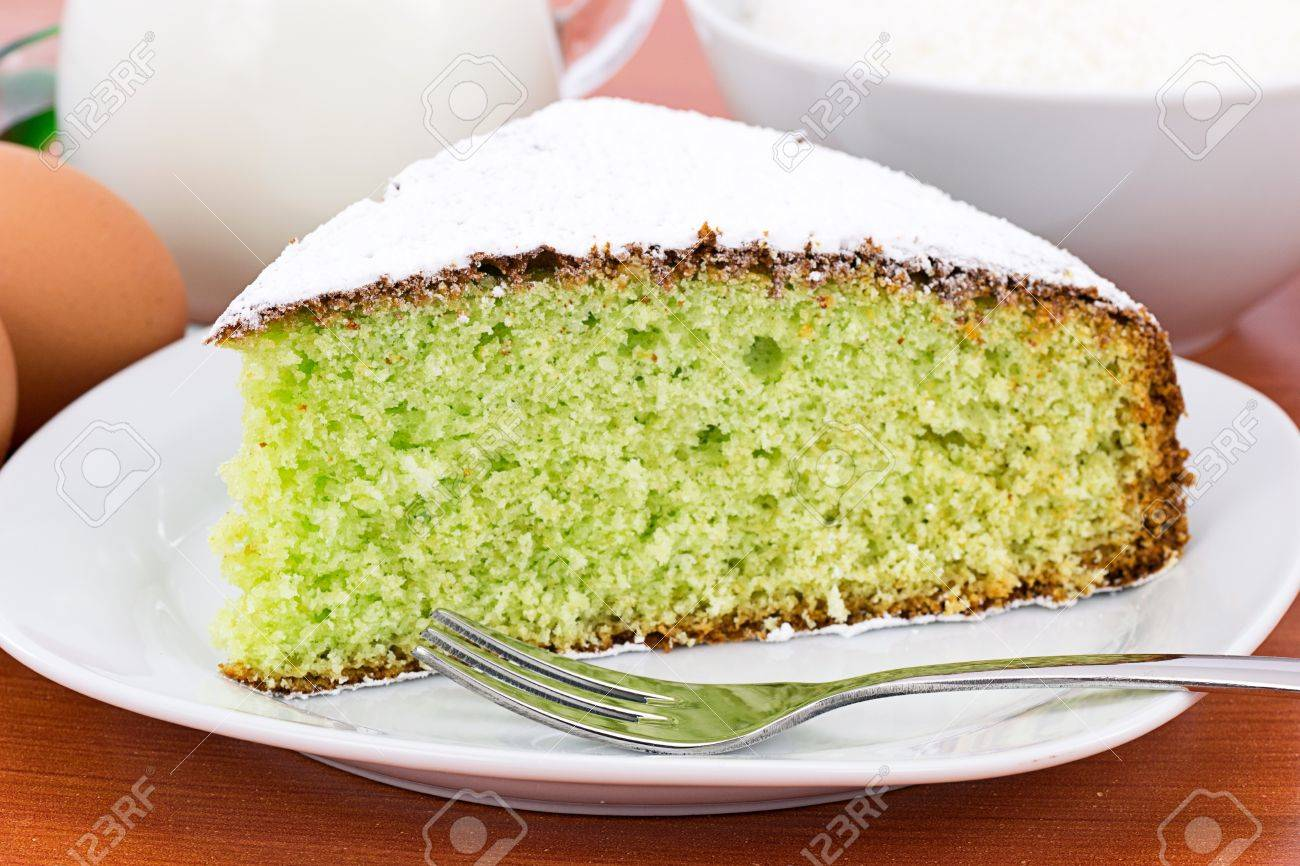 slice of coconut cake and mint Stock Photo - 12714548