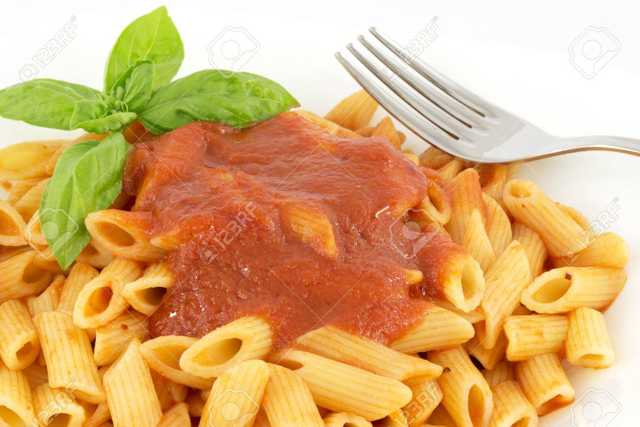 penne with tomato sauce and basil - 14442895