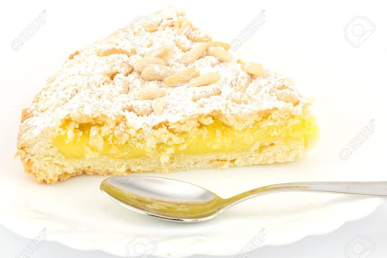 Grandma s cake, with cream and pine nuts - 16593835