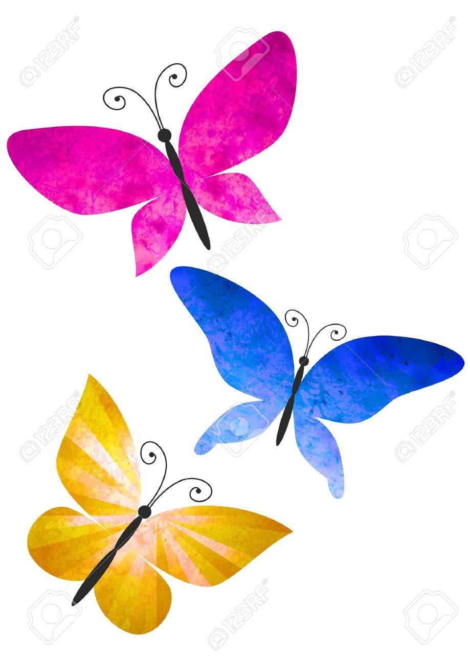 Colorful Butterflies Isolated On White Watercolors Illustration ...