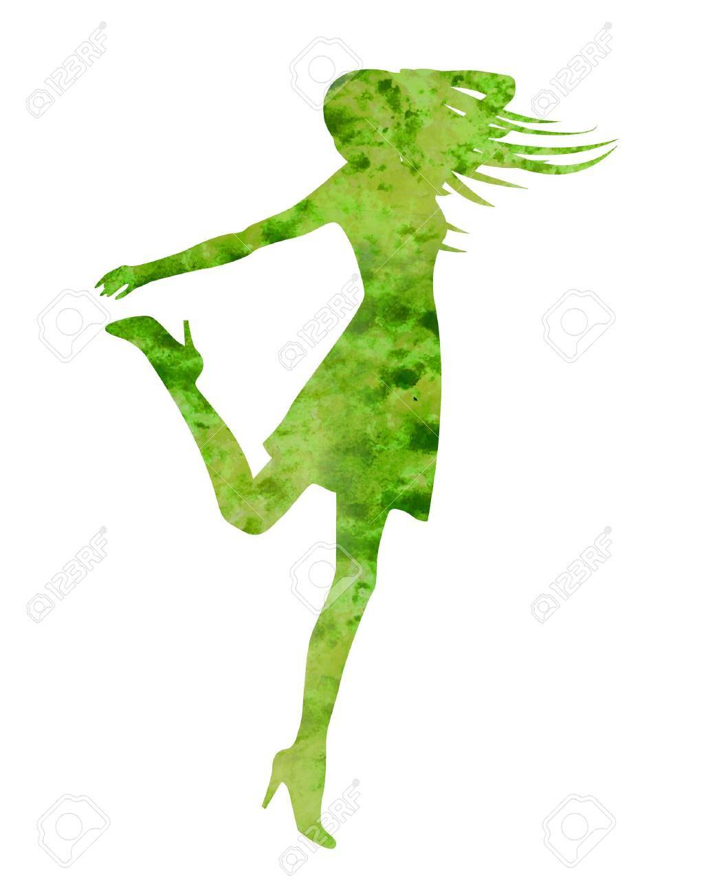 dancing woman silhouette isolated on white backgound watercolor illustration Stock Illustration - 13279001