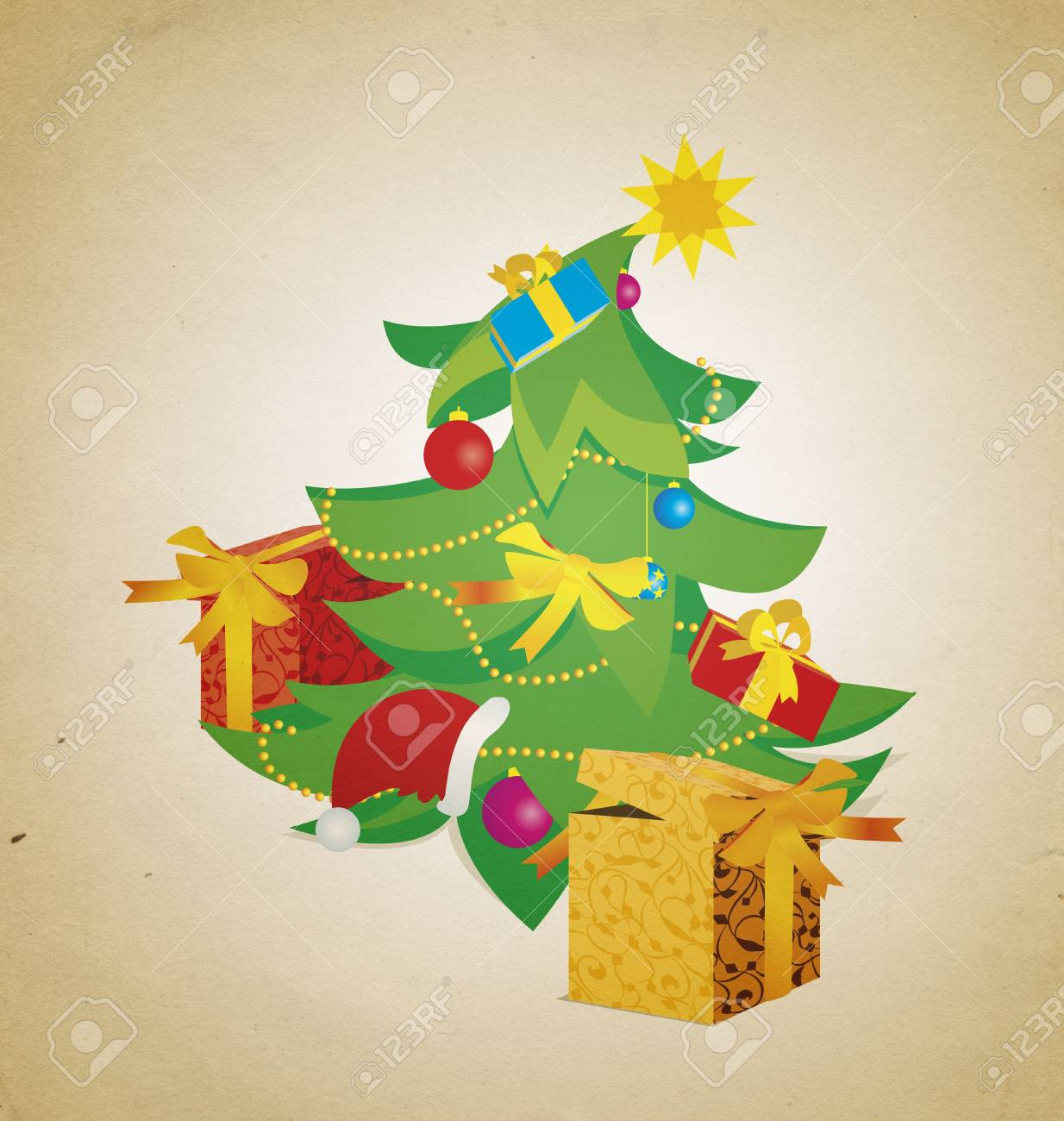 Vintage Christmas Tree With Gift Boxes Illustration Stock Photo Picture And Royalty Free Image Image 13417003