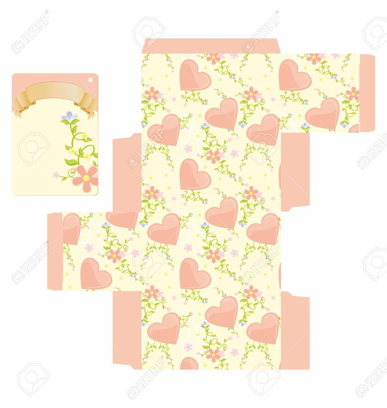 Favor box die cut with hearts floral pattern and empty label Stock Photo - 13737435